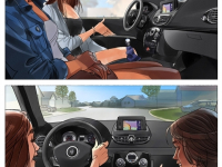 Women driving car