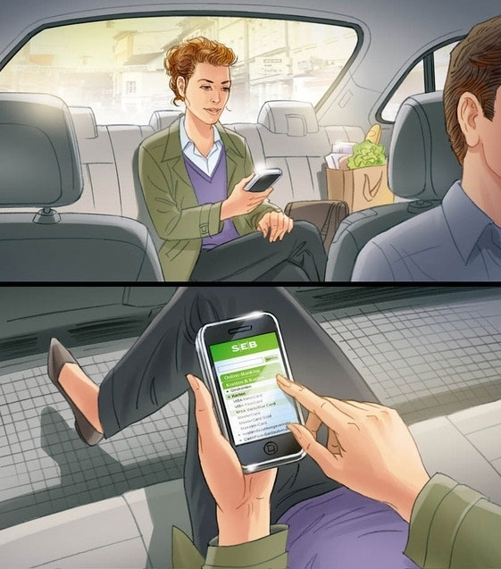 Cellphone in car storyboard