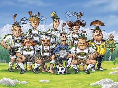 Tirol football team cartoon