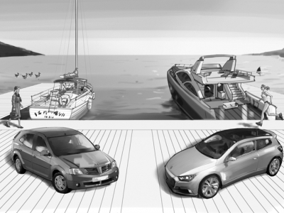 Boats and cars