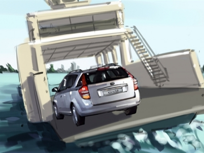 Car on a ferry